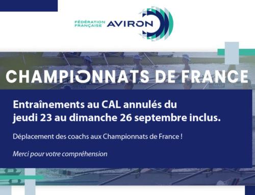 Jeunes rameurs, entraînements annulés du 23 au 26 septembre : Championnats de France J18, Séniors bateaux longs !